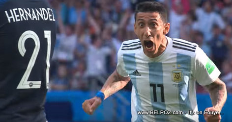 Angel Di Maria's face after scoring a goal - France vs Argentina - 2018 FIFA World Cup Russia