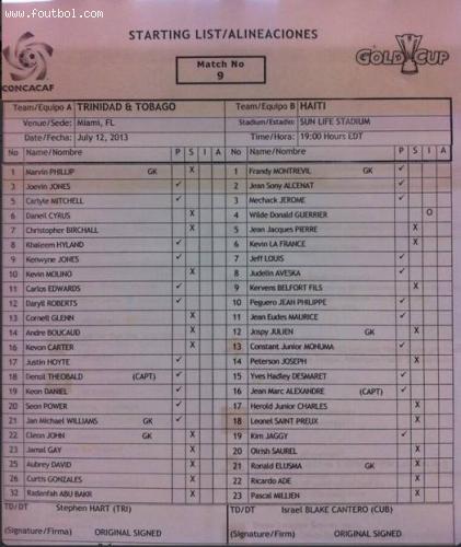 match Haiti Vs Trinidad and Tobago