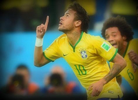 Neymar apre li finn fe premye gol li nan Coupe du Monde 2014 la